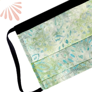 Face Mask with Filter Pocket - 100% Cotton Batik Green