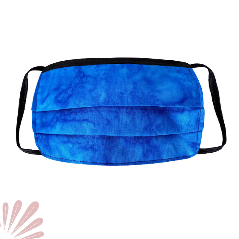 Face Mask with Filter Pocket - 100% Cotton Batik Blue