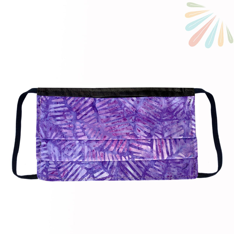 Face Mask with Filter Pocket - 100% Cotton Batik Dark Purple