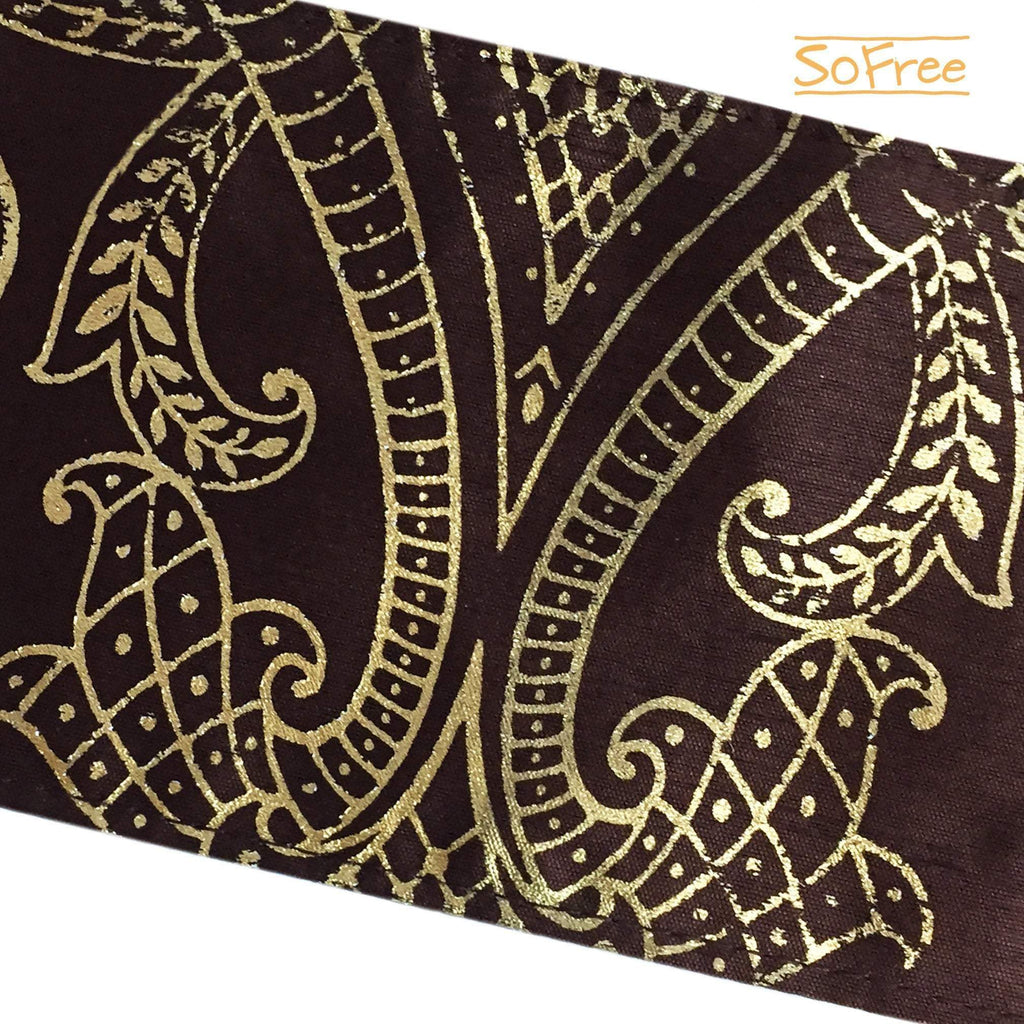 Golden Print Over Brown Wrist Wallet By SoFree Creations