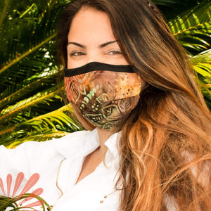 Face Mask with Filter Pocket - 100% Cotton Batik Leaf Pattern