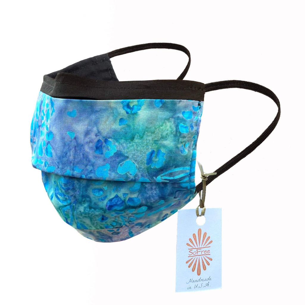 Face Mask with Filter Pocket - 100% Cotton Batik Light Blue
