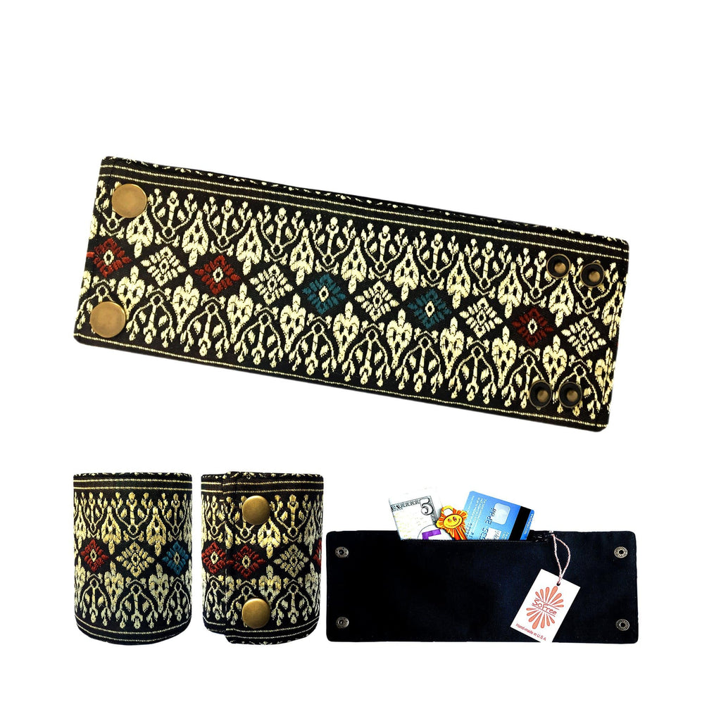 SoFree Creations Wrist Wallet Golden Thai Silk Wrist Wallet