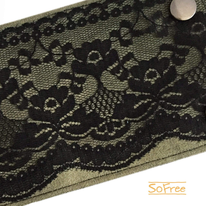 Black Lace over Green Vegan Suede Wrist Wallet By SoFree Creations