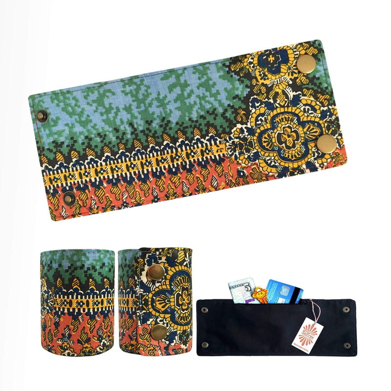 SoFree Creations Wrist Wallet Orange Tones Wild Pattern Wrist Wallet