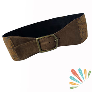SoFree Creations Travel Belt with Secret Pockets | Brown Flowers