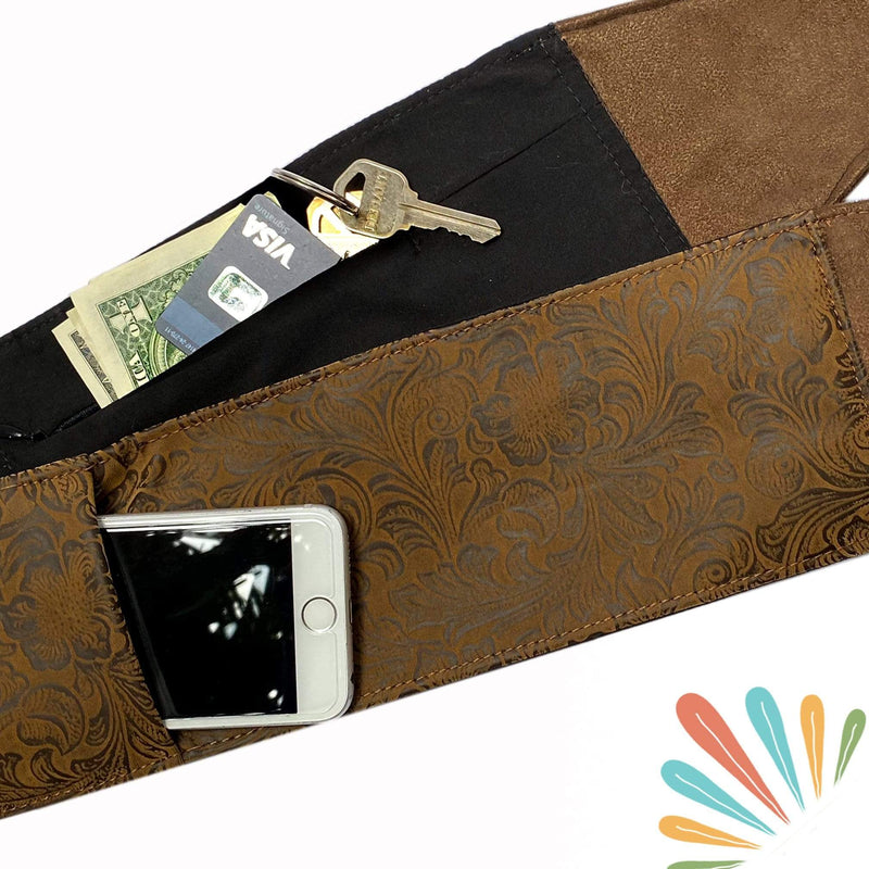 SoFree Creations Travel Belt with Secret Pockets | Brown Flowers FLBELT3-XS