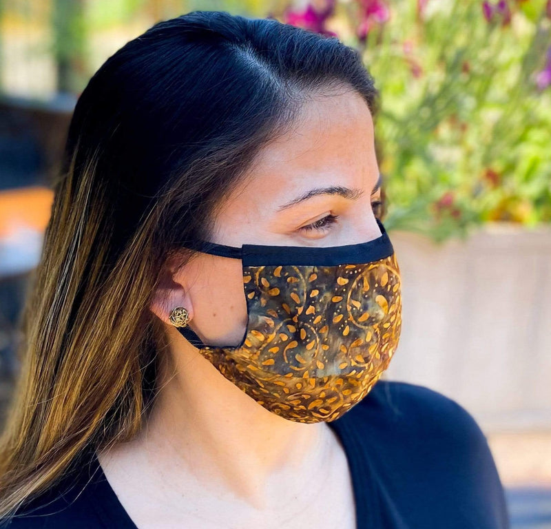 Washable Face Mask with Filter Pocket - Hand Painted Cotton Batik 5