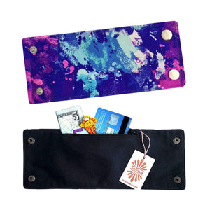 Purple Lycra Beach Wrist Wallet by SoFree Creations.