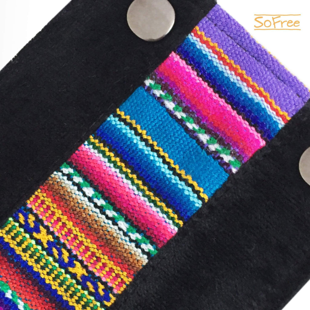 Black Suede with Ethnic Detail Wrist Wallet by SoFree Creations