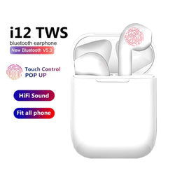 i12 TWS Wireless Headset Bluetooth 5.0 Touch Sport Earphones