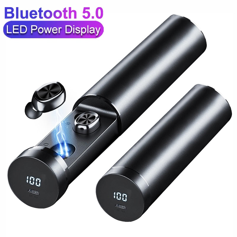 B9 Bluetooth 5.0 Earbuds Power Display Wireless Earphone HIFI Sport Earbuds with MIC