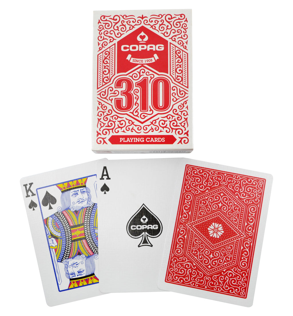 Copag 310 Red Poker Size Regular Index True Linen B9 Finish Single Deck