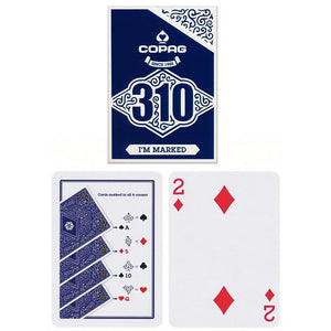 Copag 310 SLIMLINE I'm Marked Blue Poker Size Regular Index True Linen B9 Finish Single Deck