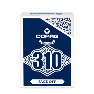 Copag 310 SLIMLINE Face-Off Blue Poker Size Regular Index True Linen B9 Finish Single Deck