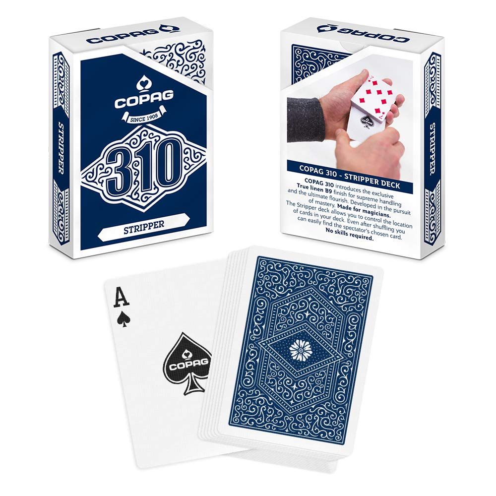 Copag 310 Stripper Trick Deck Paper Poker Size Regular Index Single Deck (Blue)