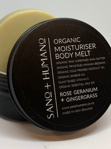 Organic Moisturiser Body Melt, Rose Geranium + Gingergrass - with travel tin