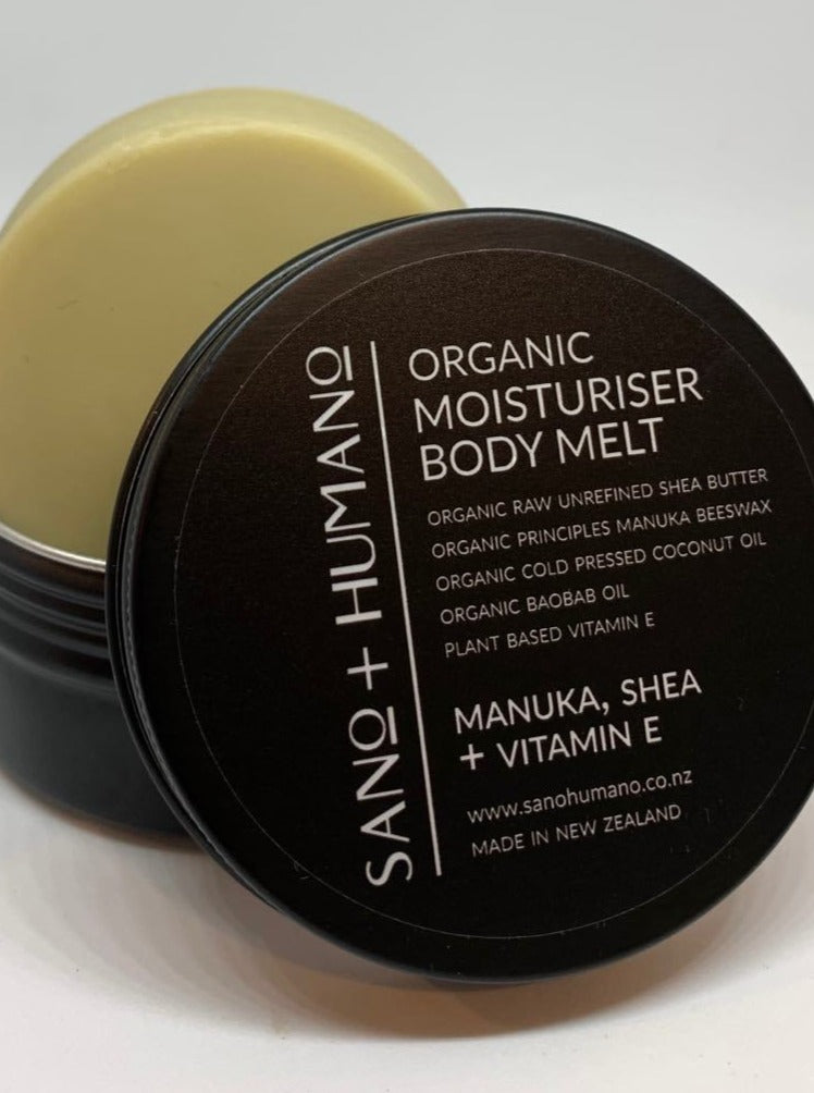 Organic Moisturiser Body Melt, Manuka, Shea + Vitamin E - with travel tin