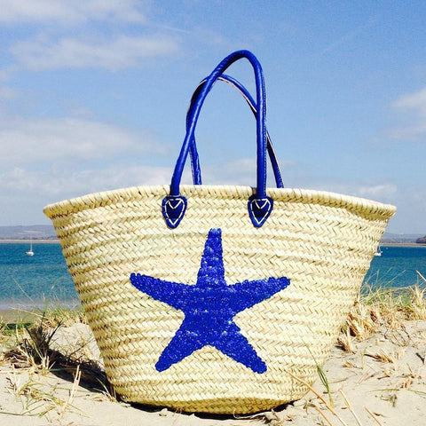 Blue Sequin Starfish Beach Basket