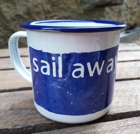 Kate Samuels 'Sail Away' Enamel mug