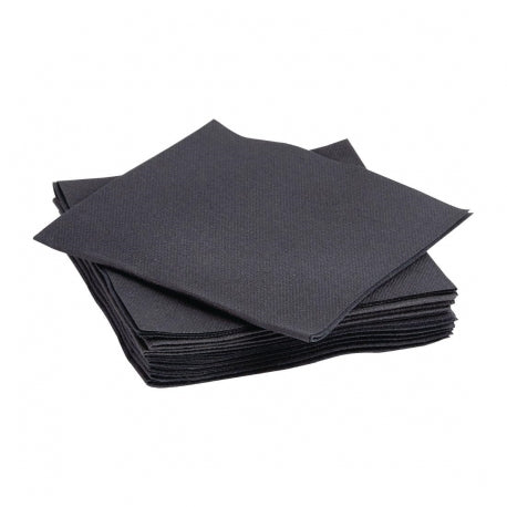 23cm PREMIUM Airlaid Black Cocktail Napkins