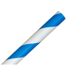 Load image into Gallery viewer, 200mm Blue/White Striped Paper Straw