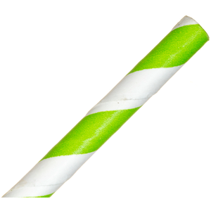 200mm Lime Green/White Striped Paper Straw