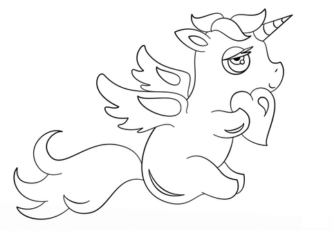 coloriage chat licorne kawaii amoureuse
