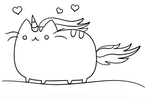 coloriage chat licorne kawaii
