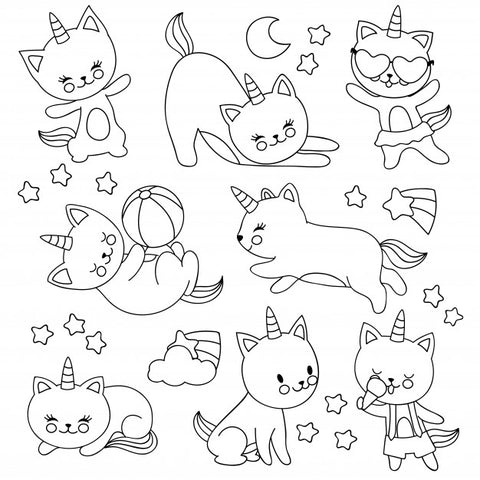 coloriage chat licorne amusant