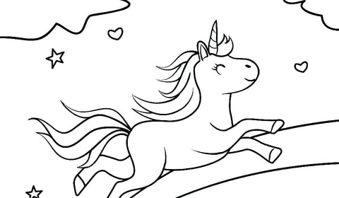 coloriage course licorne