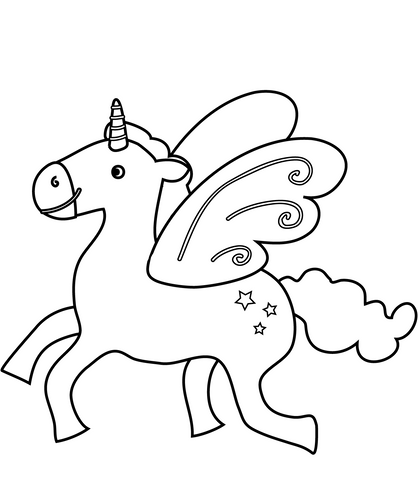 coloriage licorne kawaii style cartoon