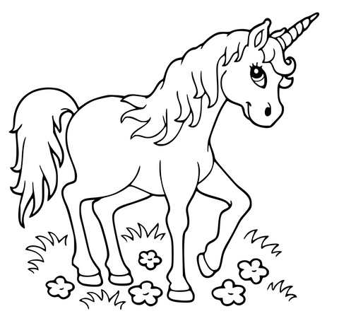 le coloriage licorne de la video en dessous