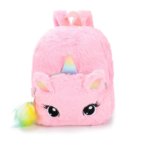 Cartable Licorne Fourrure Rose