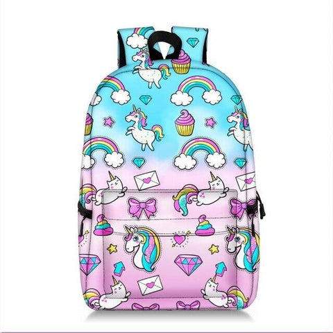Cartable Arc en Ciel Licorne