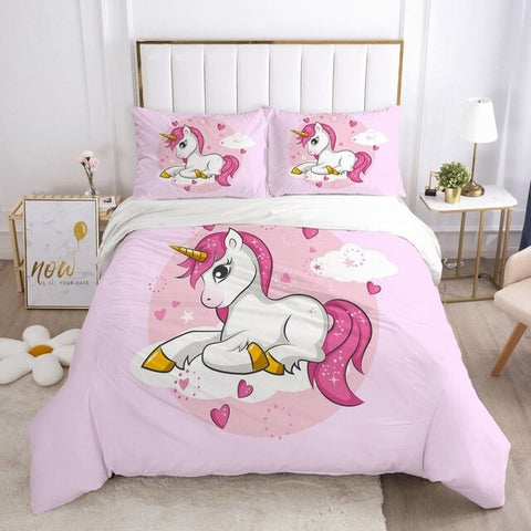 housse de couette rose style licorne kawaii taille 200x200