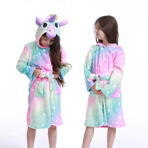 peignoir multicolore licorne