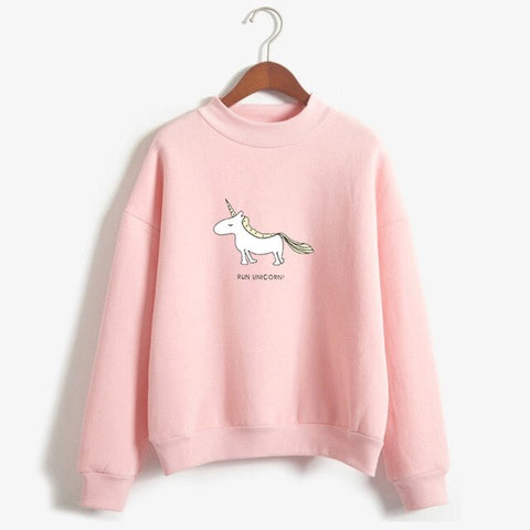 "Pull Licorne - Rose ""Run Unicorn"" - monde-licorne"