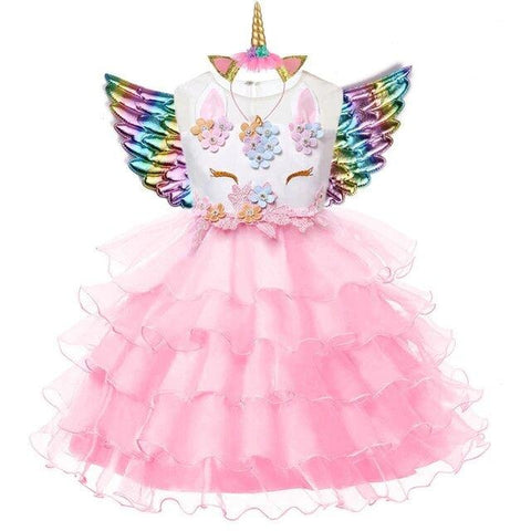 robe licorne fille couleur rose