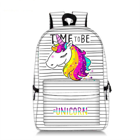 "sac a dos licorne scolaire ""time to be a unicorn"""