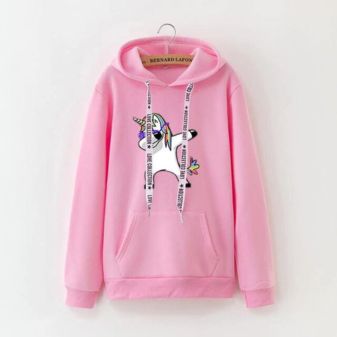 Sweat Rose Licorne Dab - monde-licorne