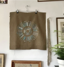 Load image into Gallery viewer, Mustard Circle - Nordiska print with linen threads
