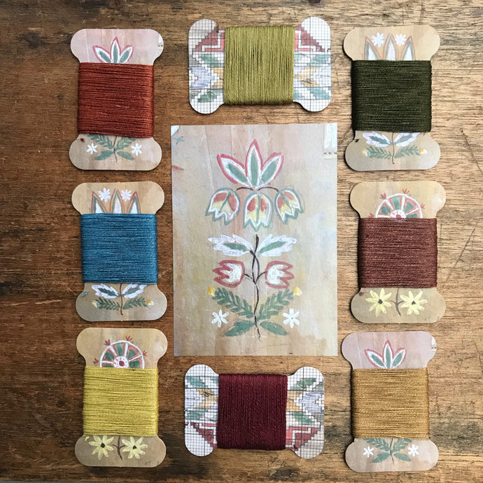 Flora & Fauna linen thread card set