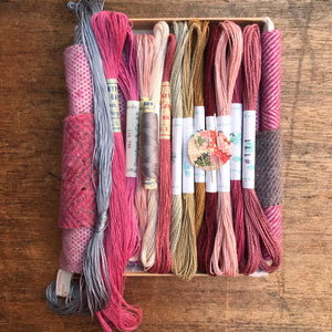 Linen, Tweed & vintage silk set Dusty pink