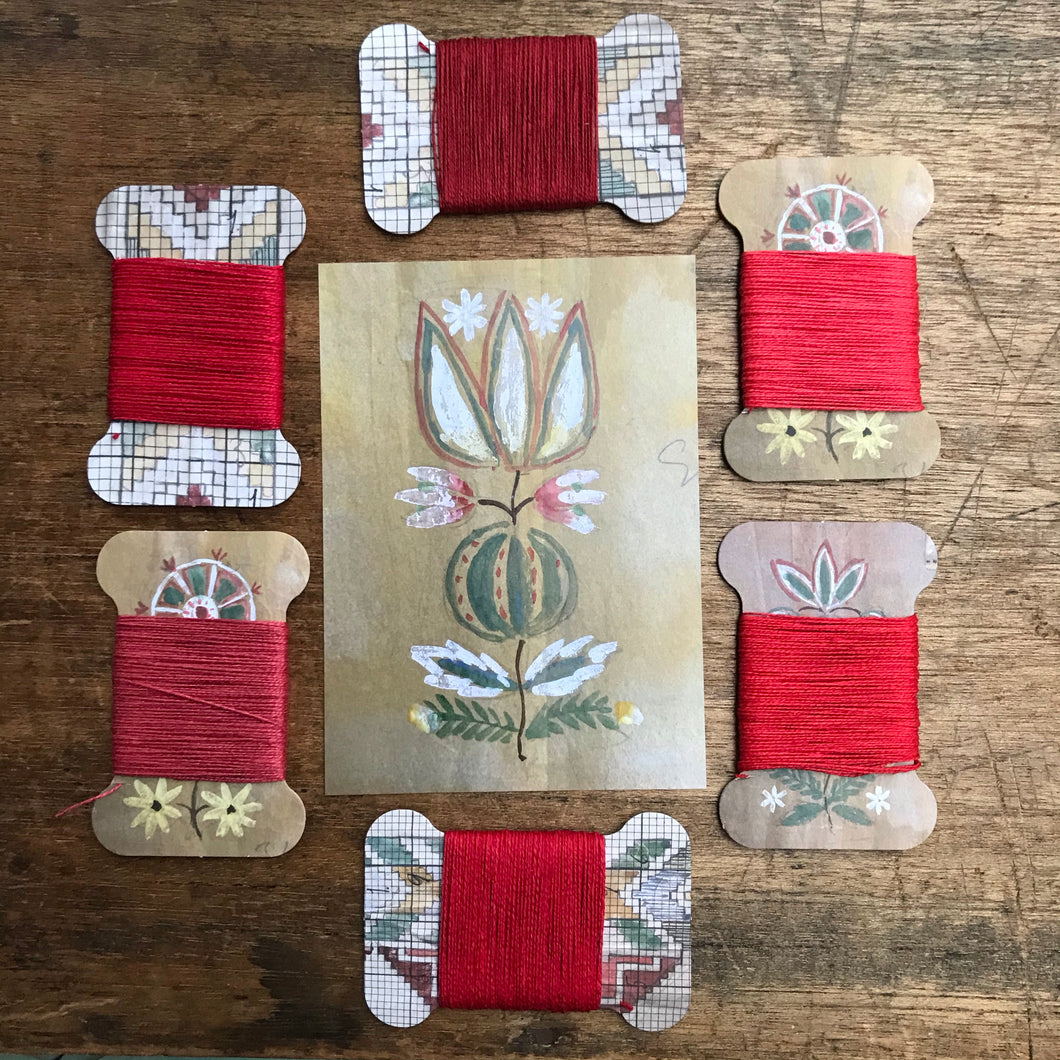 Red linen thread card set