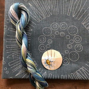Slate Circle- Nordiska print with linen threads