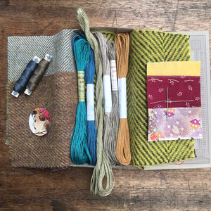 Linen, Tweed & vintage silk set #11