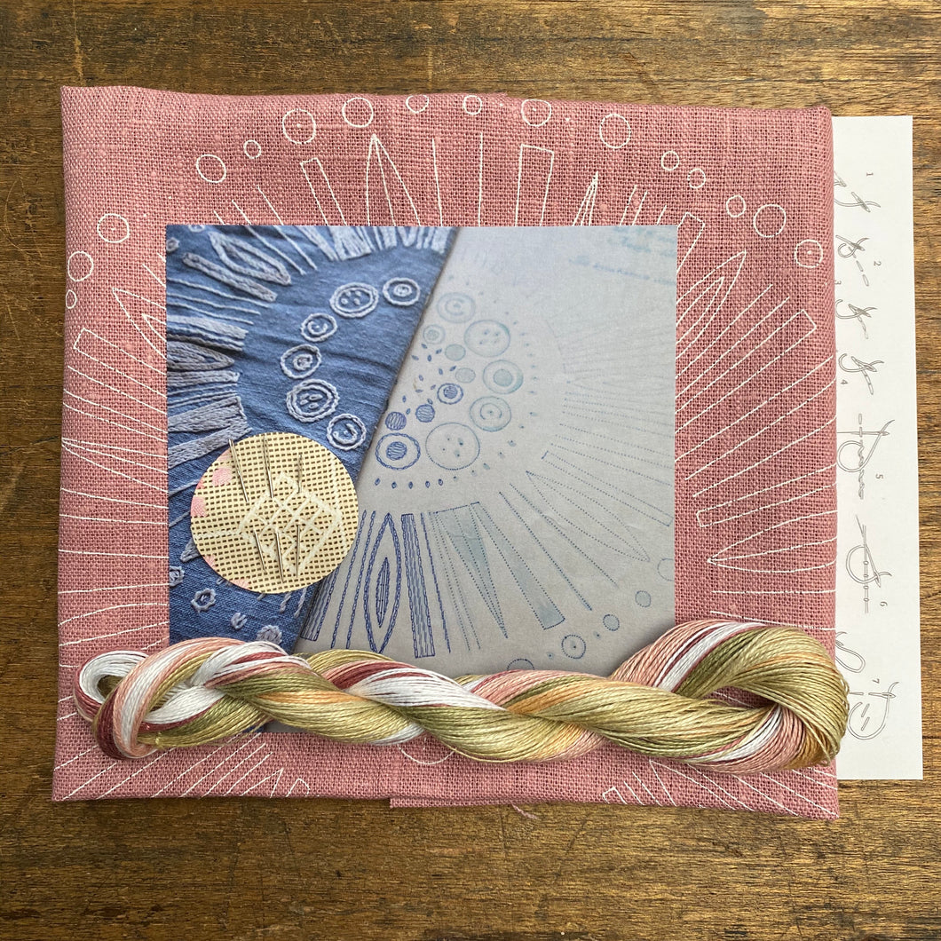 Dusty Pink Circle - Nordiska print with linen threads