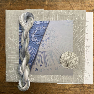 Grey Circle - Nordiska print with linen threads