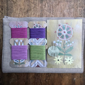 Gem Linen tea towel & thread card set - Favourites